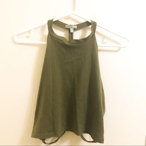 Charlotte Russe Tops - Charlotte Russe Green Crop Top with open back